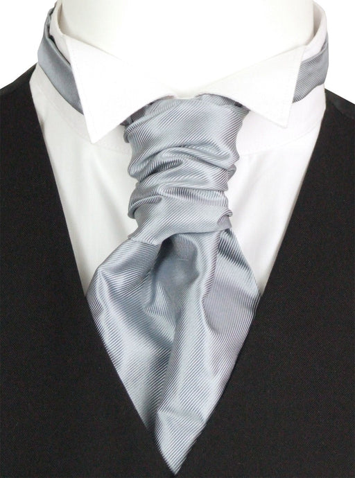 Grey Twill Pre-Tied Wedding Cravat - Wedding