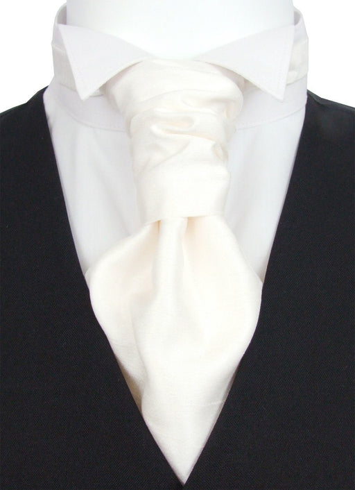 Ivory Lace Shantung Pre-Tied Wedding Cravat - Wedding