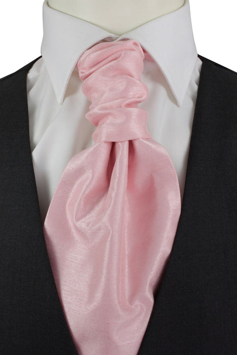 Light Pink Shantung Pre-Tied Wedding Cravat - Wedding