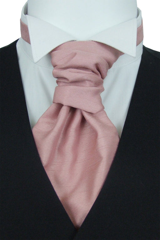 Light Rose Shantung Boys Pre-Tied Wedding Cravat - Childrenswear