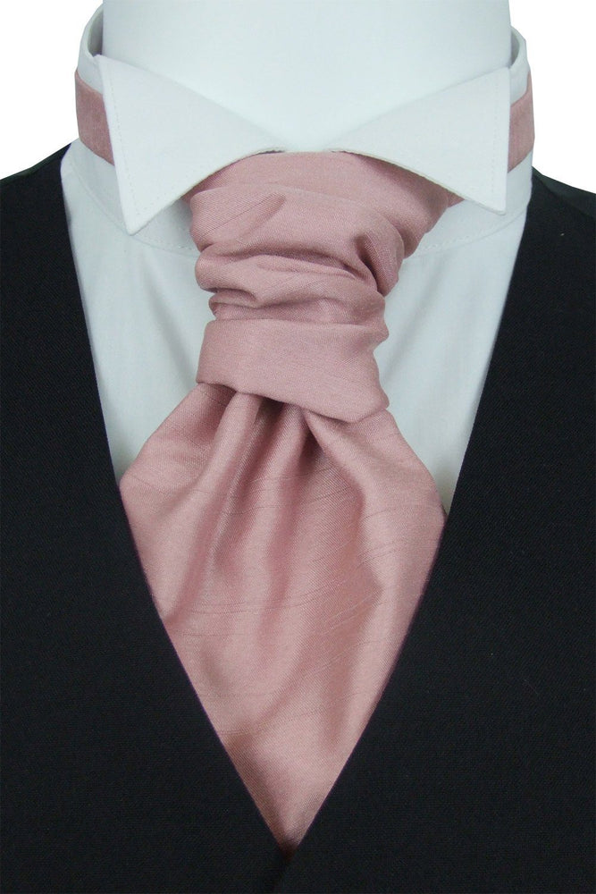 Light Rose Shantung Pre-Tied Wedding Cravat - Wedding