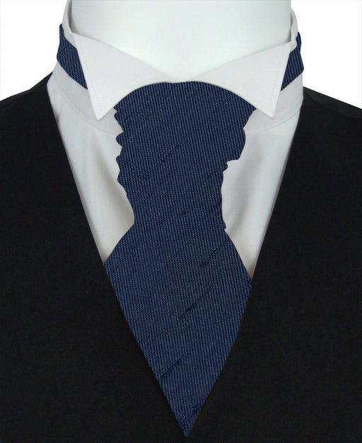 Navy Shantung Pre-Tied Wedding Cravat - Wedding
