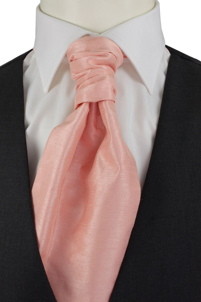 Peach Shantung Pre-Tied Wedding Cravat - Wedding