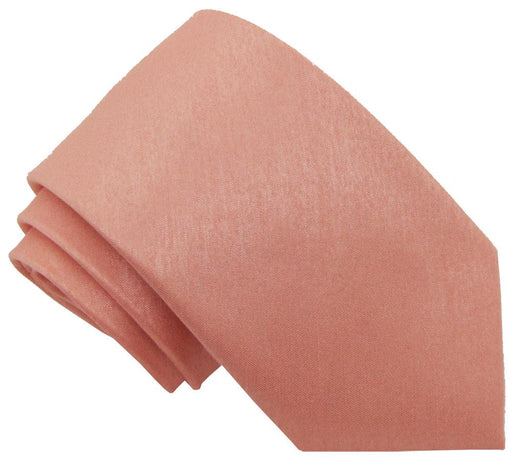 Peach Shantung Skinny Wedding Tie - Wedding