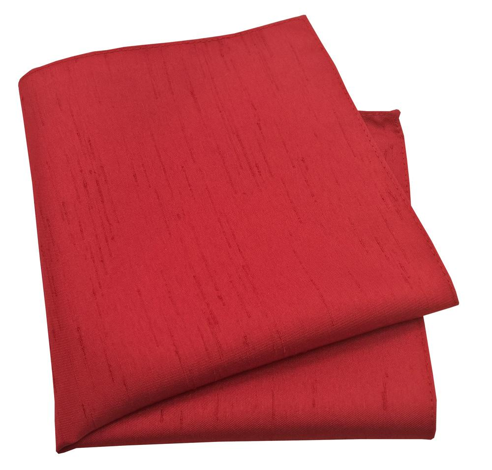 Red Shantung Pocket Square - Wedding