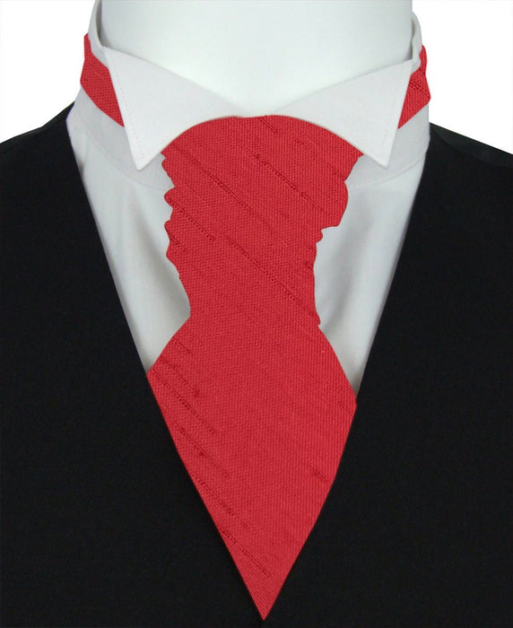 Red Shantung Pre-Tied Wedding Cravat - Wedding
