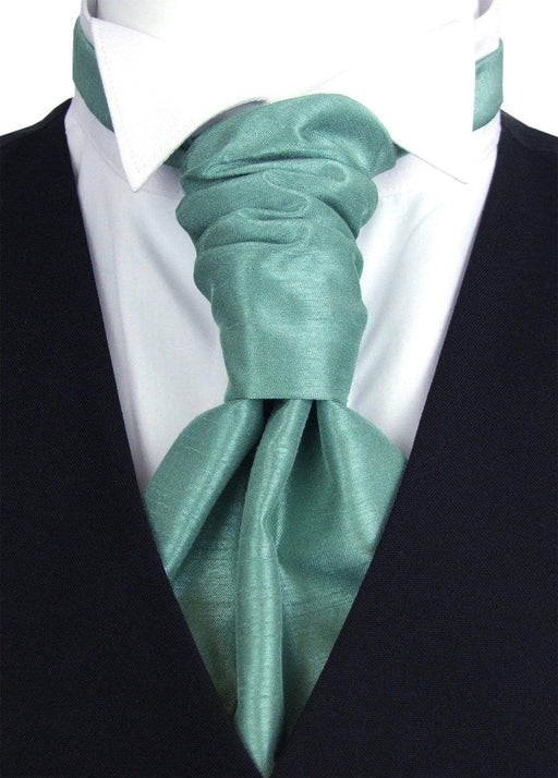 Sage Shantung Pre-Tied Wedding Cravat - Wedding