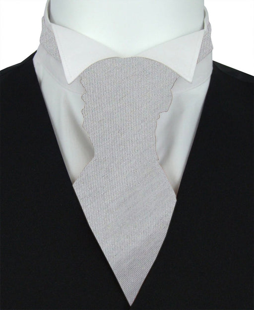 Silver Moon Shantung Pre-Tied Wedding Cravat - Wedding