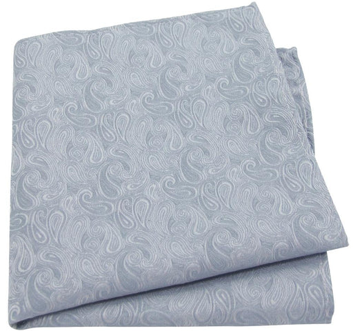 Silver Paisley Pocket Square - Wedding