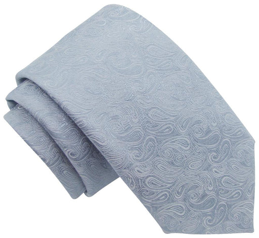 Silver Paisley Skinny Wedding Tie - Wedding