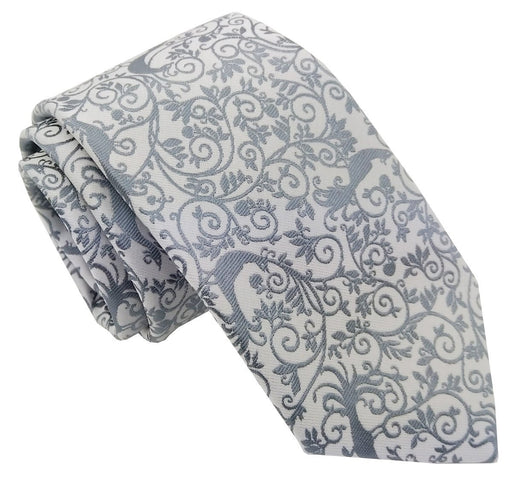 Silver Peacock Wedding Tie - Wedding