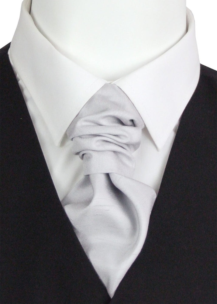 Silver Shantung Pre-Tied Wedding Cravat - Wedding