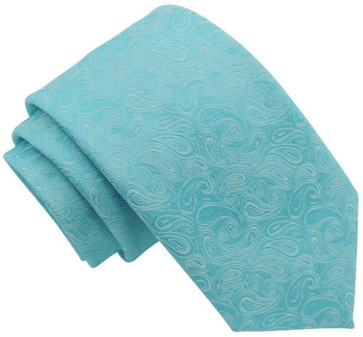 Turquoise Paisley Skinny Wedding Tie - Wedding