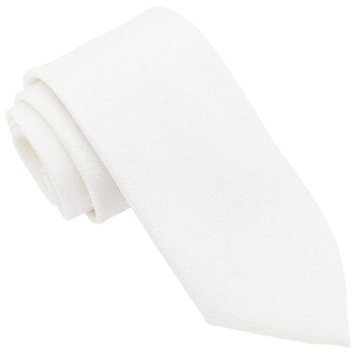 White Paisley Wedding Tie - Wedding