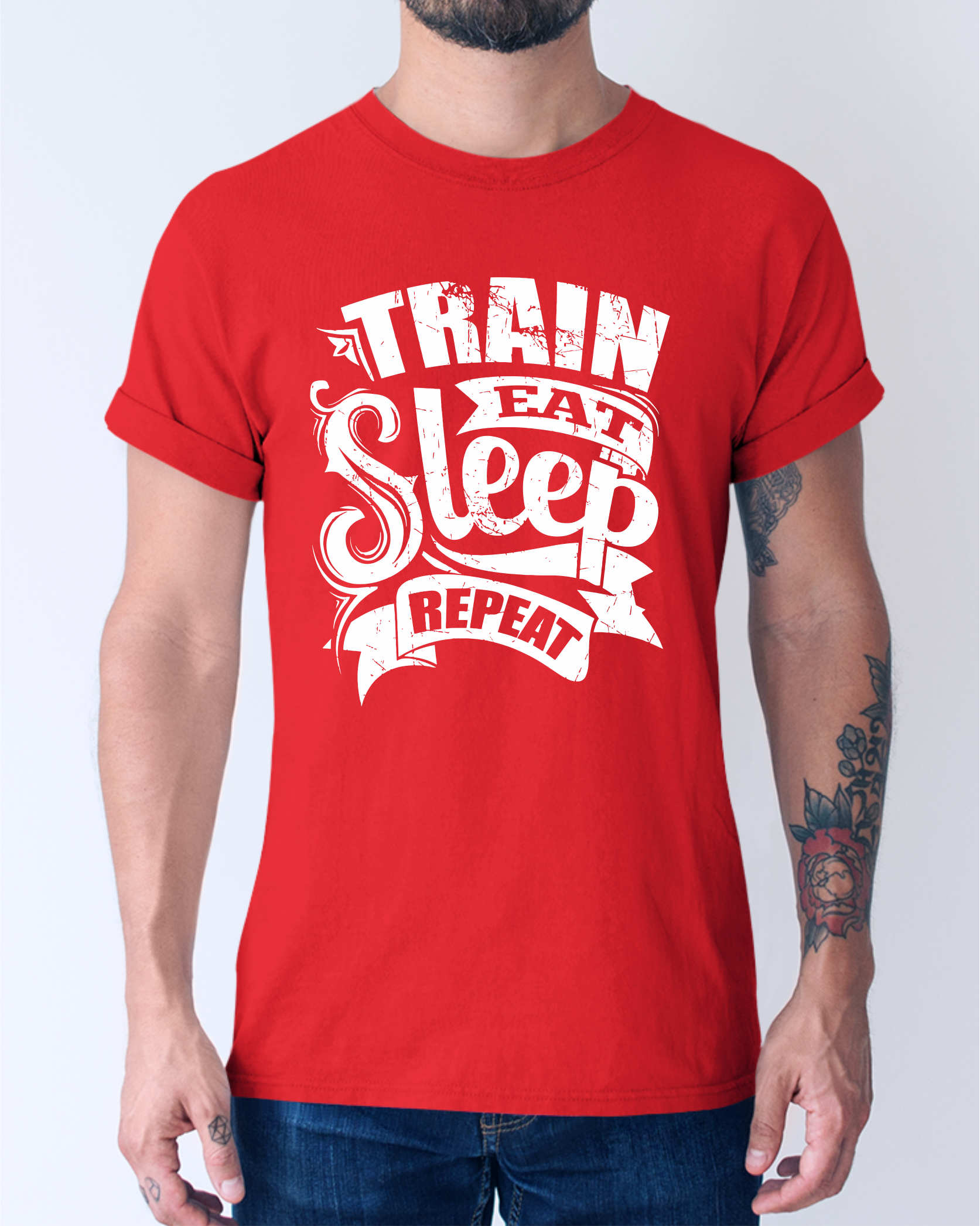 Train Eat Sleep Repeat Gym T-Shirt ©