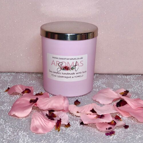 30cl Natural Wax Candle Pink with Lid