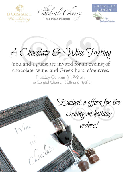 Chocolate wine tasting The Cordial Cherry chocolate covered cherries Christmas corporate client best gift box delivery