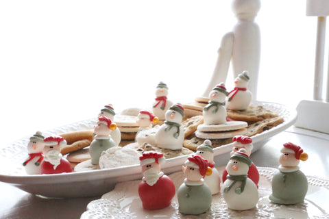 Santas, Elves, and Snowmen Santa Elf Snowman Cordial Cherries chocolate covered cherry truffle unique Christmas gift delivery cookie tray exchange idea