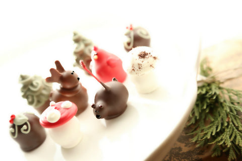 Woodland Christmas Bear Deer Bird Mushroom tree holly berry cordial cherry chocolate covered cherries truffle unique gift deliver