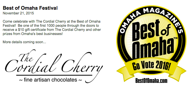 The Cordial Cherry chocolate covered cherries events Best of Omaha