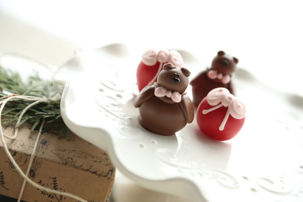 Chocolate Truffles ~ 4-Piece Gift ~ Valentine Teddy Bears