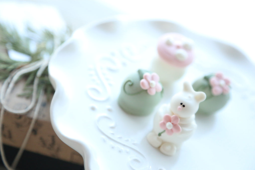 Chocolate Truffles ~ 4-Piece Gift ~Bunnies in the Flower Patch