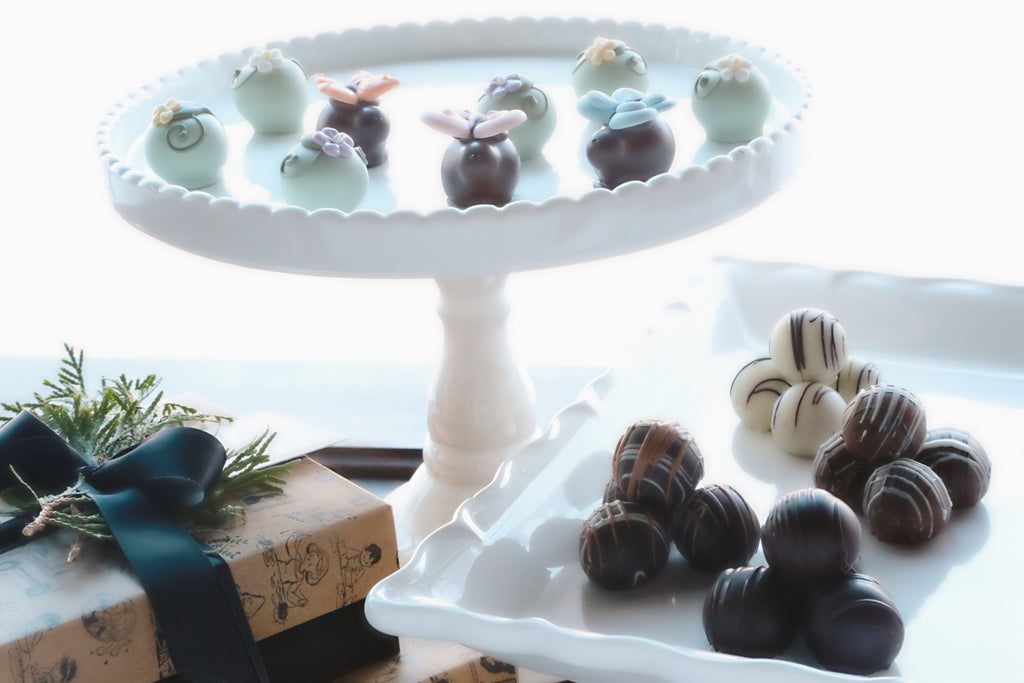 Chocolate Truffles ~ 2 Tier Gift Tower ~ Butterflies and Blossoms