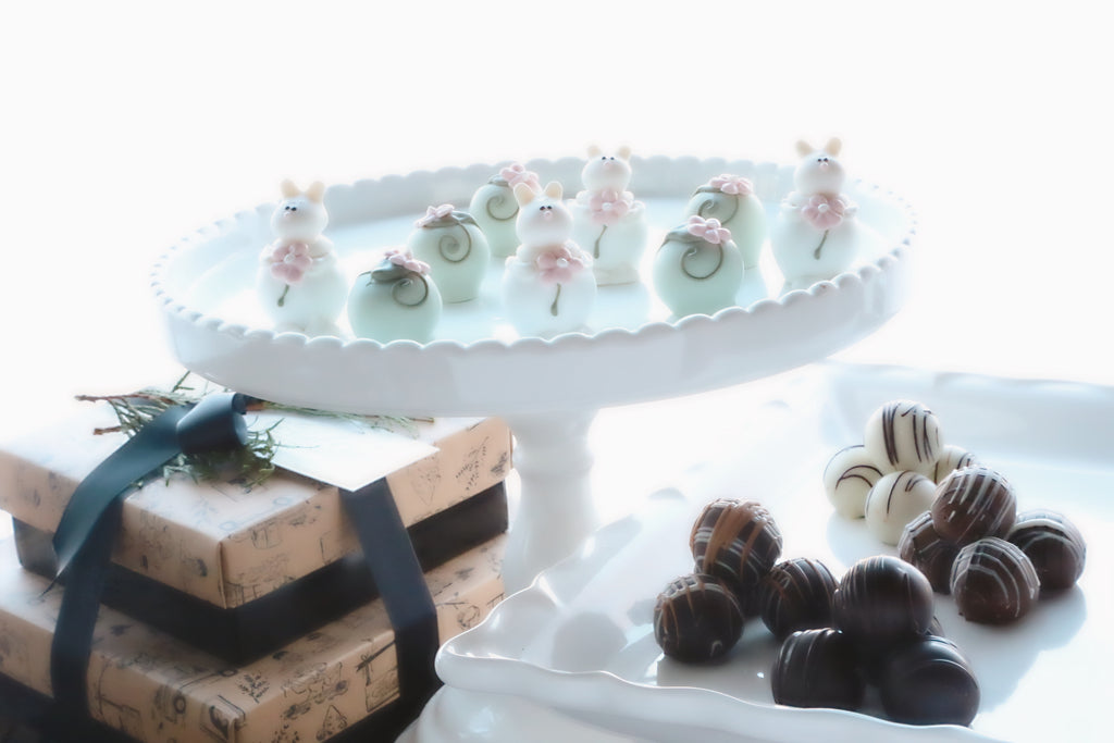 Chocolate Truffles ~ 2-Tier Gift Tower ~ Bunnies in the Flower Patch