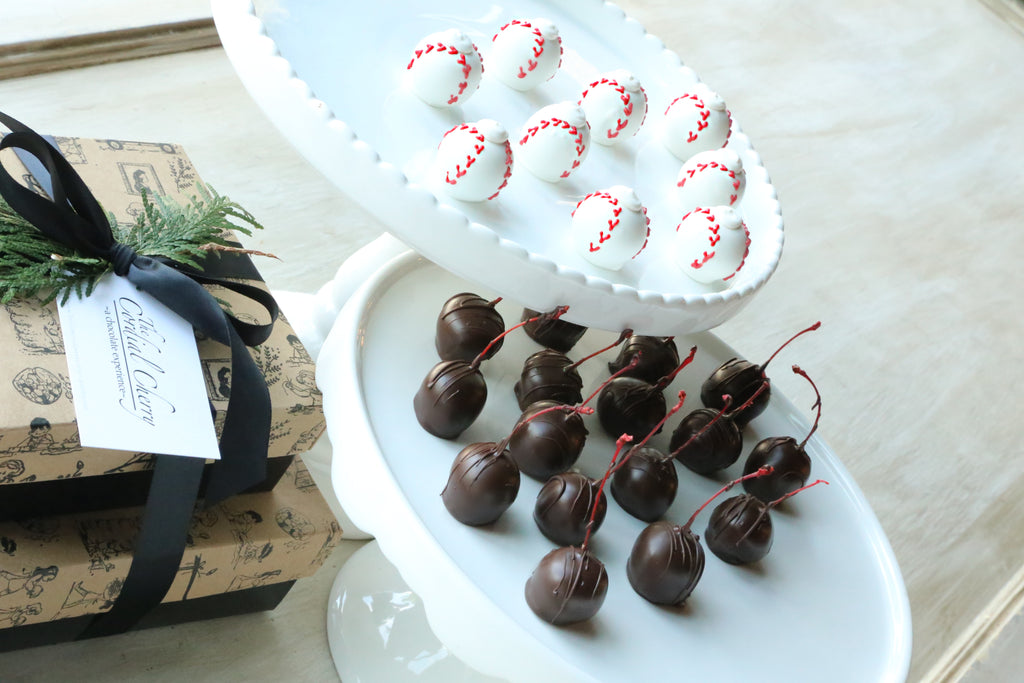 Cordial Cherries ~ 2-Tier Gift Tower ~ Baseballs