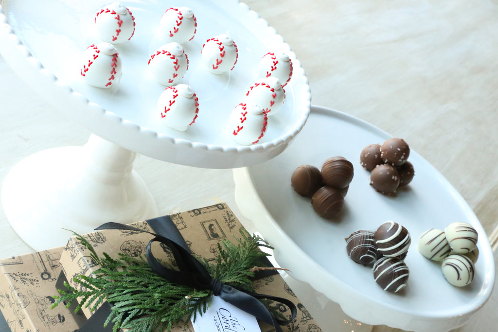 Chocolate Truffles ~ 2-Tier Gift Tower ~ Baseballs