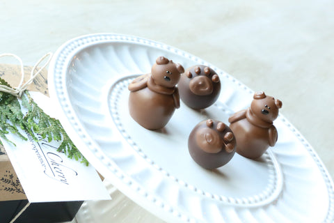 Chocolate Truffles ~ 4 Piece Gift ~ Teddy Bears and Paws