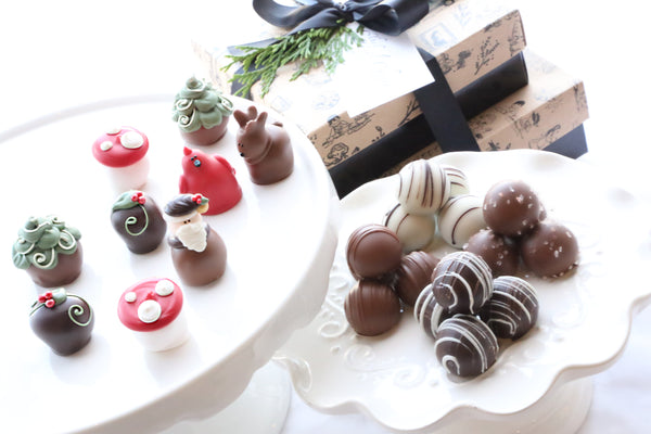Chocolate Truffles ~ 2-Tier Gift Tower ~ Woodland Christmas