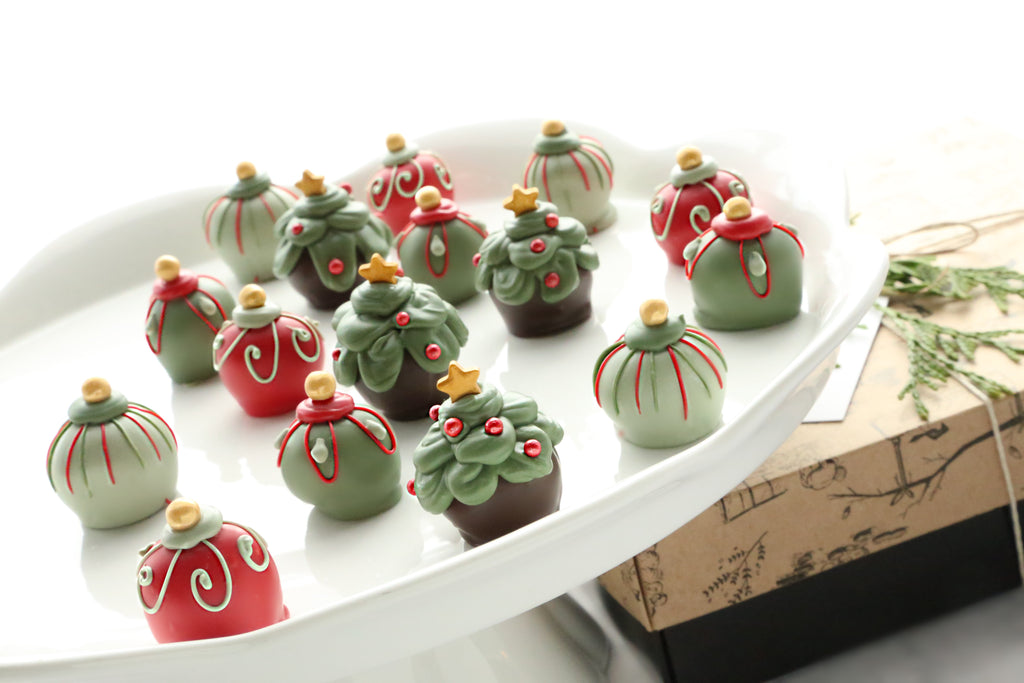 Chocolate Truffles ~ 16-Piece Gift ~ Christmas Trees and Ornaments