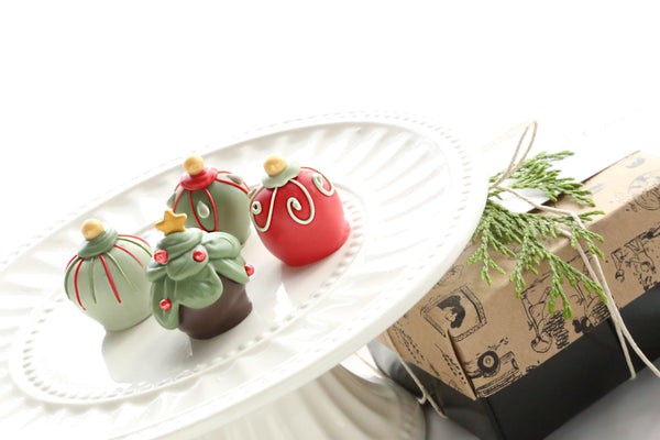 Chocolate Truffles ~ 4-Piece Gift ~ Christmas Trees and Ornaments