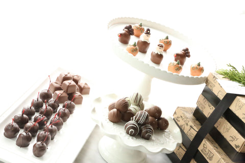 Cordial Cherries ~ 4-Tier Gift Tower ~ Thanksgiving Pilgrims, Turkeys, Pumpkins