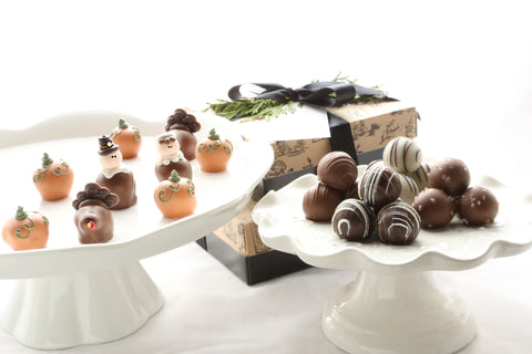 Chocolate Truffles ~ 2-Tier Gift Tower ~ Thanksgiving Pilgrims, Turkeys, Pumpkins