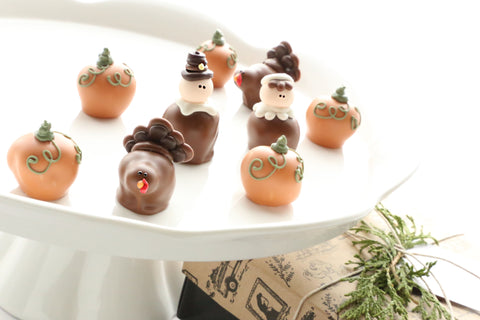 Chocolate Truffles ~ 9-Piece Gift ~ Thanksgiving Pilgrims, Turkeys, Pumpkins