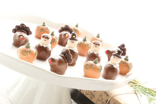 Chocolate Truffles ~ 16-Piece Gift ~ Thanksgiving Pilgrims, Turkeys, and Pumpkins