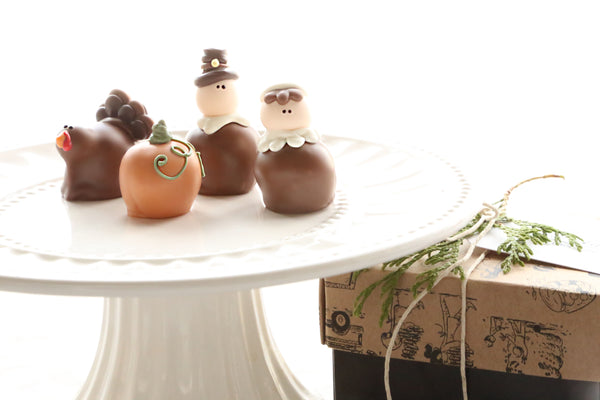 Chocolate Truffles ~ 4-Piece Gift ~ Thanksgiving Pilgrims, Turkeys, and Pumpkins