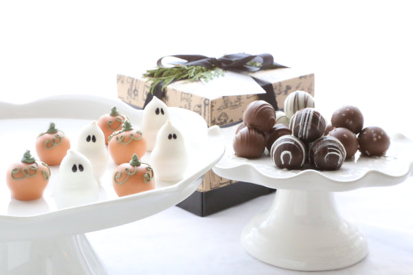 Chocolate Truffles ~ 2-Tier Gift Tower ~ Pumpkins and Ghosts