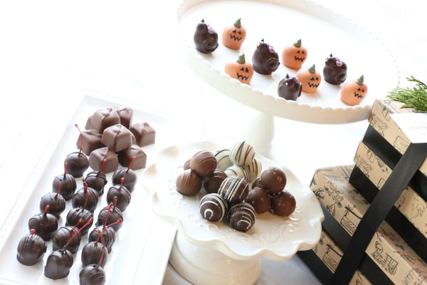 Chocolate Truffles ~ 4-Tier Gift Tower ~ Black Cats and Jack-O-Lanterns