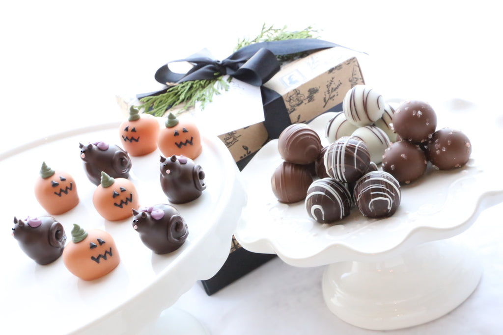 Chocolate Truffles ~ 2-Tier Gift Tower ~ Black Cats and Jack-O-Lanterns