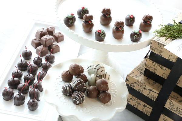 Chocolate Truffles ~ 4-Tier Gift Tower ~ Christmas Puppies