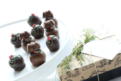 Chocolate Truffles ~ 9-Piece Gift ~ Christmas Puppies
