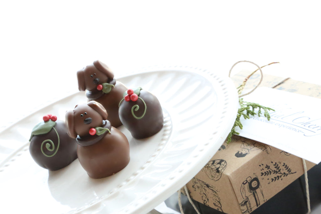 Chocolate Truffles ~ 4-Piece Gift ~ Christmas Puppies