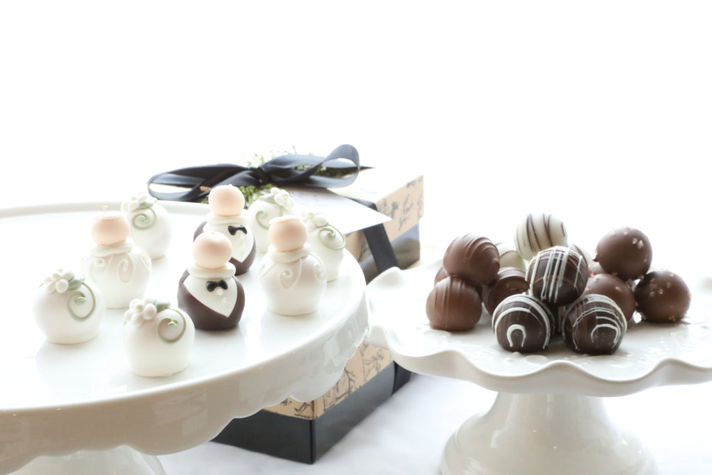 Chocolate Truffles ~ 2-Tier Gift Tower ~ Wedding Bride and Groom