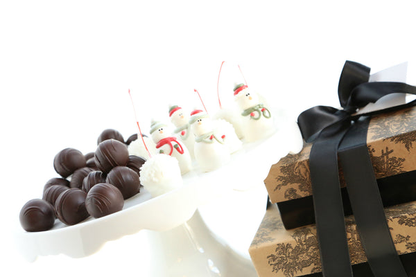 Tiered Gift Set ~ Snowmen and Snowball Cordial Cherries and Chocolate Truffles