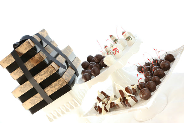 Tiered Gift Set ~ Snowmen and Snowball Cordial Cherries, Truffles, Fudge and Original Cordial Cherries