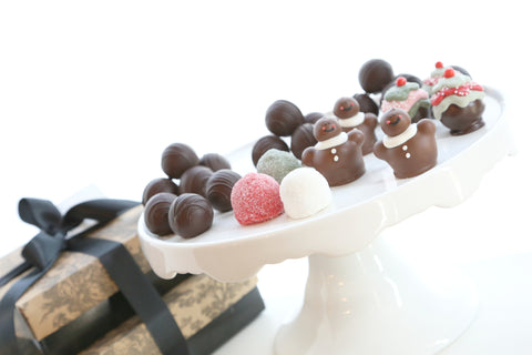 Two Tier Gift ~ Christmas Sweets Cordial Cherries with Chocolate Truffles