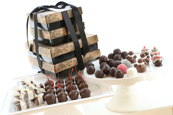 Four Tier Gift ~ Gingerbread  Men Cordial Cherries with Chocolate Truffles, Satin Fudge, and Original Cordial Cherries